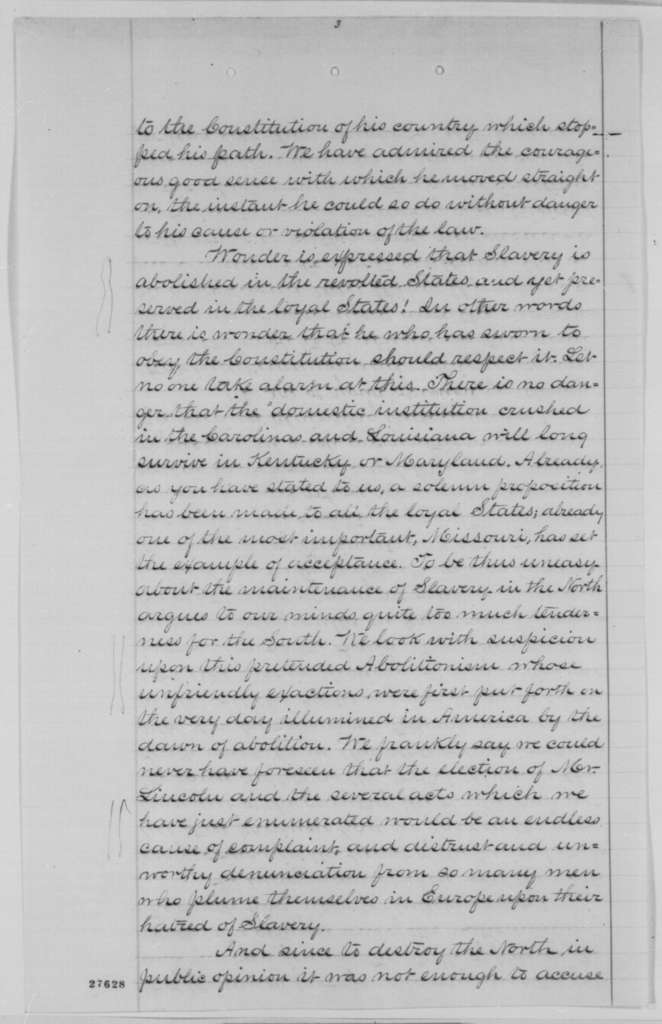 Agenor-Etienne de Gasparin, et al. to Loyal National League of New York, Saturday, October 31, 1863  (Relations between France and the United Stated; endorsed by John Austin Stevens, December 22, 1863)