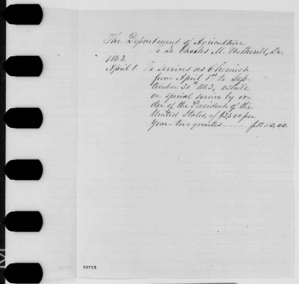 Agriculture Department to Charles M. Wetherill, Wednesday, April 01, 1863  (Bill)