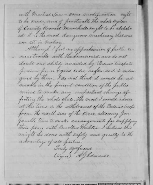 Albert G. Edwards to Charles Gibson, Tuesday, January 27, 1863  (Martial law in Missouri)