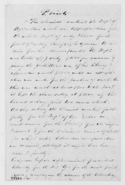 Albert S. White to Owen Lovejoy, Friday, March 06, 1863  (Appropriation for Agriculture Department)