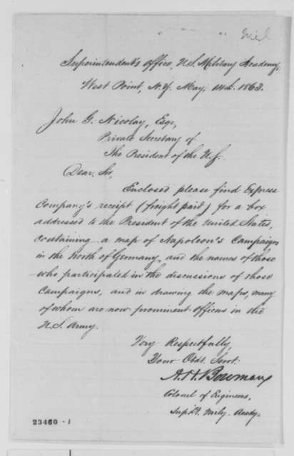 Alexander Hamilton Bowman to John G. Nicolay, Thursday, May 14, 1863  (Sends express receipt)