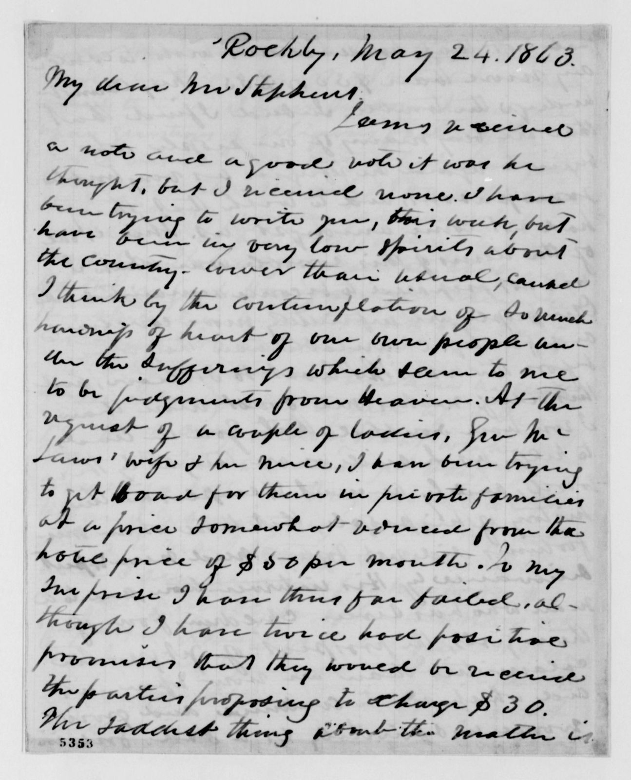 Alexander Hamilton Stephens Papers: General Correspondence, 1784-1886; 1863, Feb. 28-July 17