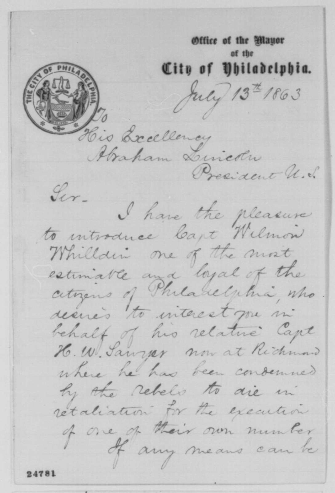 Alexander Henry to Abraham Lincoln, Monday, July 13, 1863  (Introduces Wilmon Whilden)