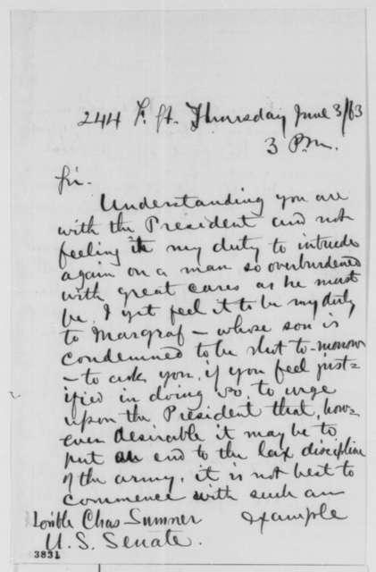 Alfred J. Bloor to Charles Sumner, Wednesday, June 03, 1863  (Seeks pardon for soldier named Magraff)