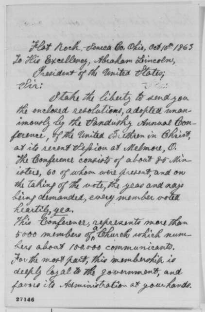 Alvan Rose to Abraham Lincoln, Saturday, October 10, 1863  (Sends resolutions of the Sandusky Conference of the United Brethren in Christ)