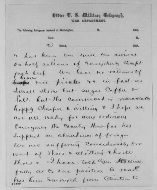 Ambrose E. Burnside to Abraham Lincoln, Thursday, October 22, 1863  (Telegram reporting troop strength in Tennessee)