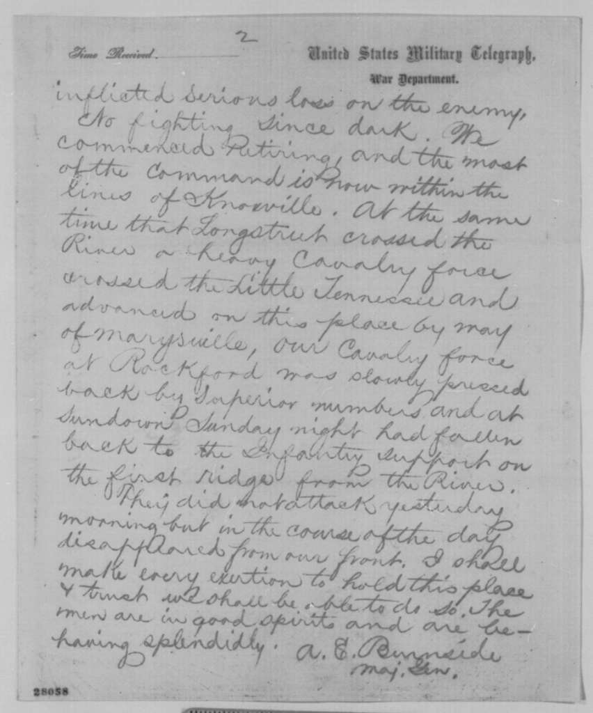 Ambrose E. Burnside to Abraham Lincoln, Tuesday, November 17, 1863  (Telegram reporting military affairs in Tennessee)
