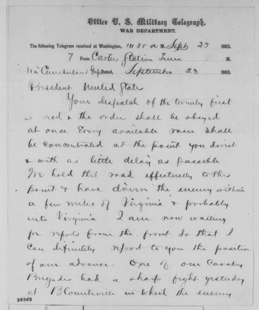Ambrose E. Burnside to Abraham Lincoln, Wednesday, September 23, 1863  (Telegram in response to Lincoln's order to reinforce Rosecrans)