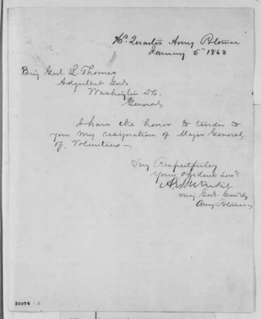Ambrose E. Burnside to Lorenzo Thomas, Monday, January 05, 1863  (Letter of resignation)