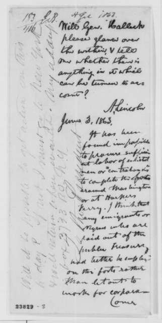 Ambrose W. Thompson to Abraham Lincoln, Tuesday, June 02, 1863  (Enlistment of black soldiers; endorsed by Lincoln, June 3, 1863 and Henry W. Halleck)