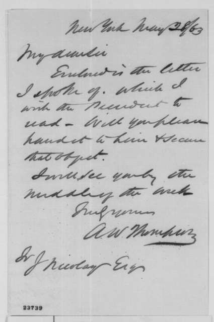 Ambrose W. Thompson to John G. Nicolay, Thursday, May 28, 1863  (Cover letter)
