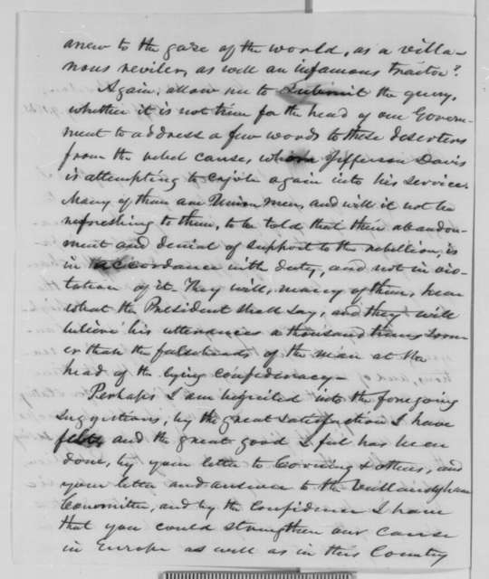 Amos Tuck to Abraham Lincoln, Sunday, August 09, 1863  (Recommends response to proclamation issued by Jefferson Davis)