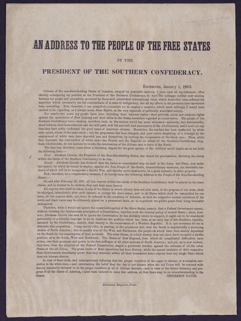 An address to the people of the free states by the President of the Southern Confederacy.