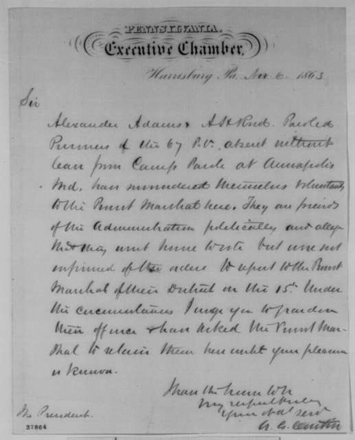 Andrew G. Curtin to Abraham Lincoln, Friday, November 06, 1863  (Requests pardons)
