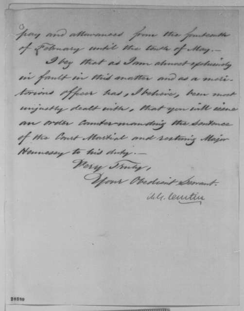Andrew G. Curtin to Abraham Lincoln, Thursday, December 10, 1863  (Case of Major Timothy Hennessy)