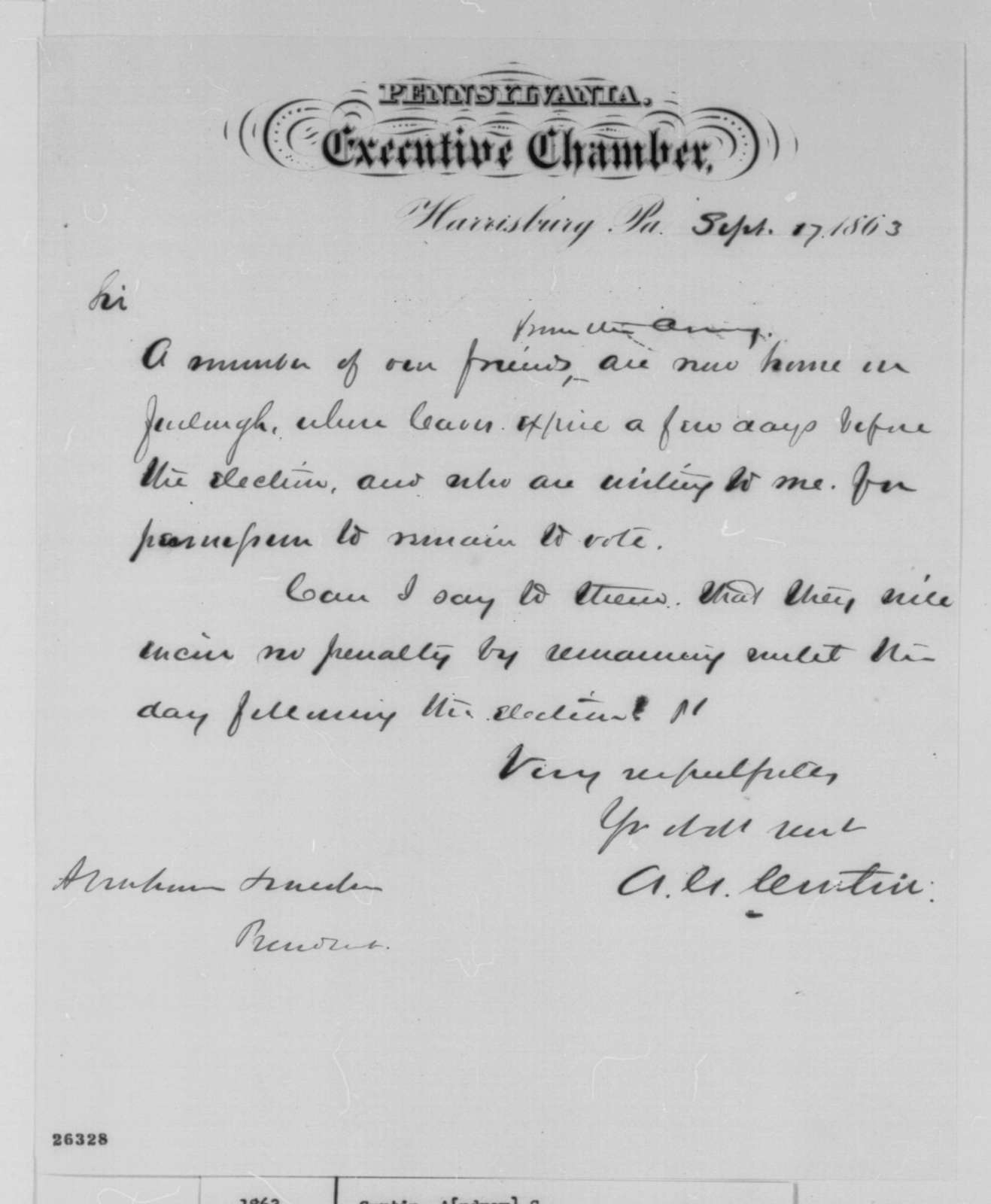 Andrew G. Curtin to Abraham Lincoln, Thursday, September 17, 1863  (Soldier vote in Pennsylvania)