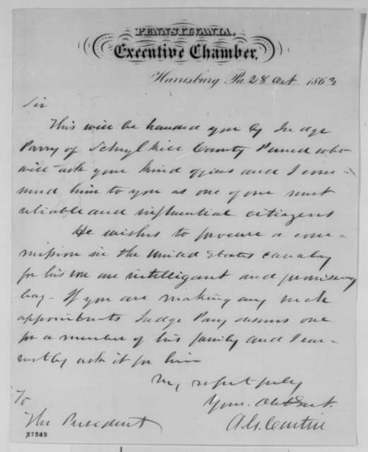 Andrew G. Curtin to Abraham Lincoln, Wednesday, October 28, 1863  (Introduces Judge Parry)