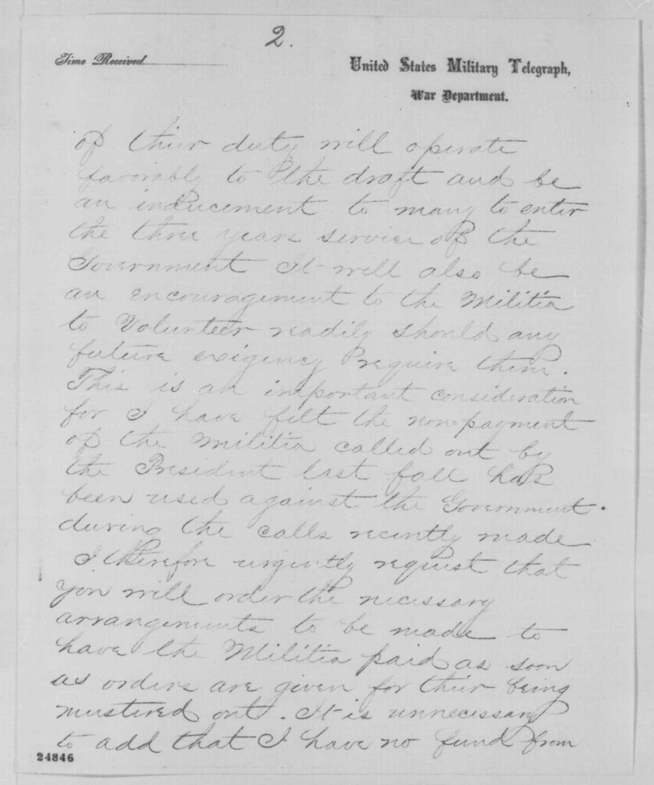Andrew G. Curtin to Edwin M. Stanton, Wednesday, July 15, 1863  (Telegram concerning Pennsylvania militia)
