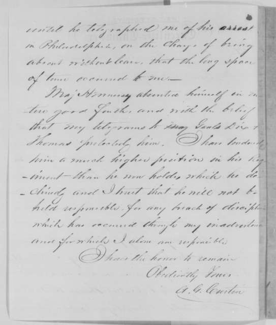 Andrew G. Curtin to Erasmus D. Keyes, Monday, May 04, 1863  (Major Hennessy's leave of absence)