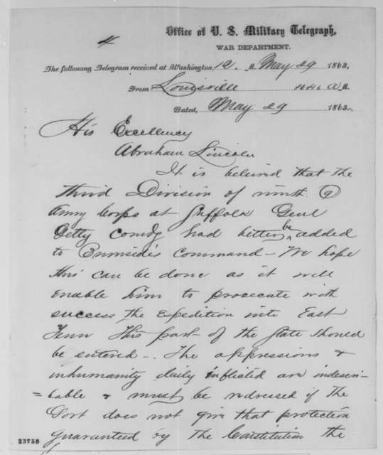Andrew Johnson to Abraham Lincoln, Friday, May 29, 1863  (Telegram concerning reinforcements for General Burnside)