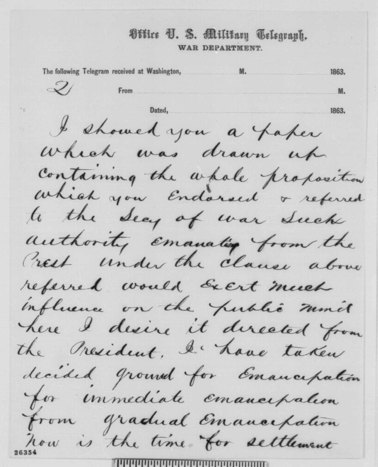 Andrew Johnson to Abraham Lincoln, Thursday, September 17, 1863  (Telegram in reply to Lincoln's letter of September 11 regarding affairs in Tennessee)