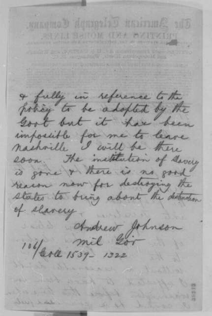 Andrew Johnson to Montgomery Blair, Tuesday, November 24, 1863  (Telegram concerning Lincoln's reconstruction policy)