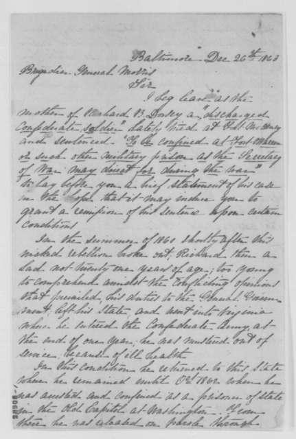 Anna E. Dorsey to William W. Morris, Saturday, December 26, 1863  (Case of Richard B. Dorsey; endorsed by Morris, et al.)