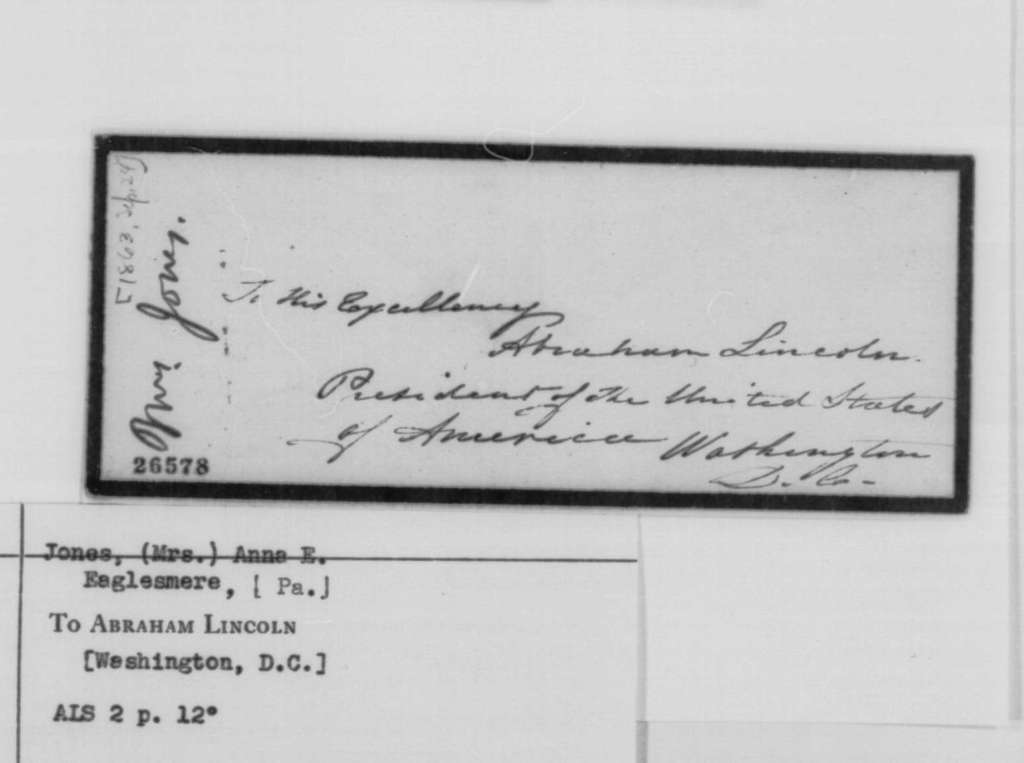 Anna E. Jones to Abraham Lincoln, Thursday, September 24, 1863  (Appreciates son's appointment to West Point)
