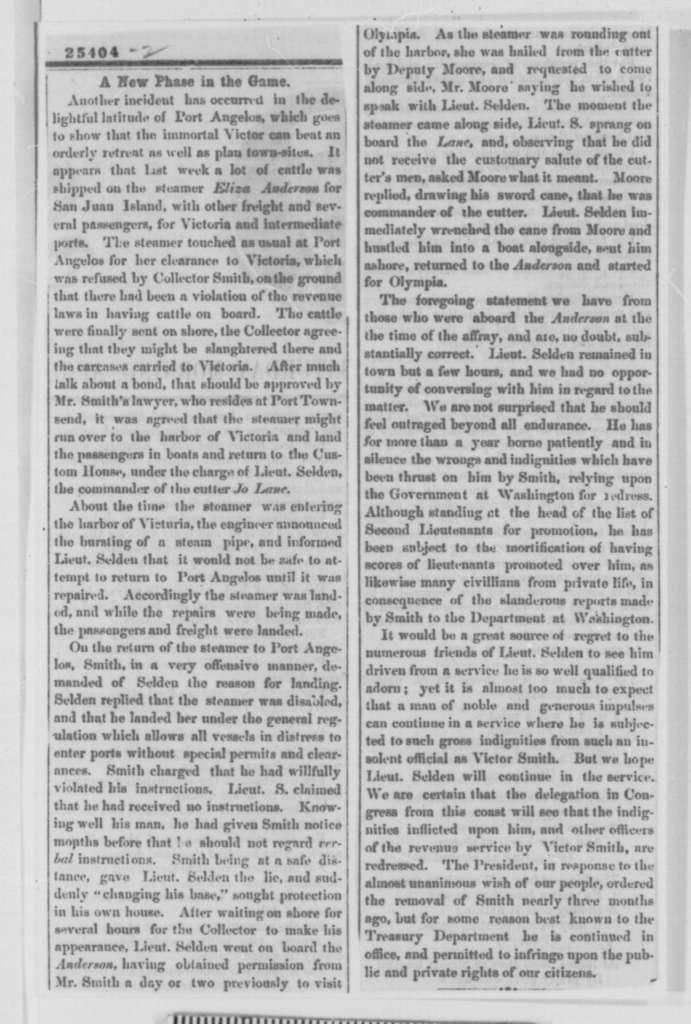 Anson G. Henry to John R. McBride, Friday, August 07, 1863  (Customs house in Washington Territory)
