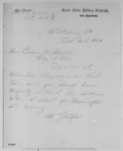 Anson Stager to Edwin M. Stanton, Wednesday, October 14, 1863  (Telegram reporting Ohio election results)