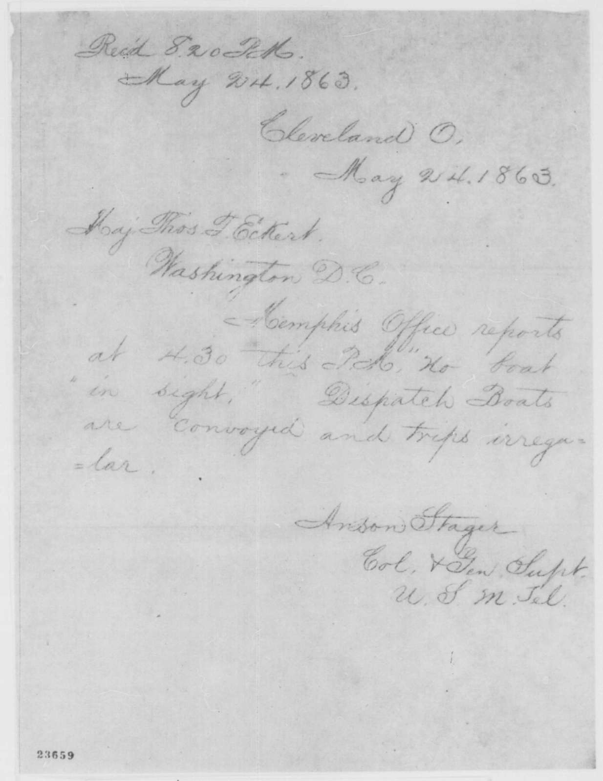 Anson Stager to Thomas T. Eckert, Sunday, May 24, 1863  (Telegram regarding arrival of boats)
