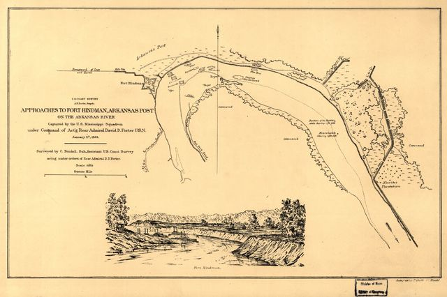 Approaches to Fort Hindman, Arkansas Post, on the Arkansas River : captured by the U.S. Mississippi Squadron, under command of Act'g. Rear Admiral David D. Porter, U.S.N., January 11th, 1863 /
