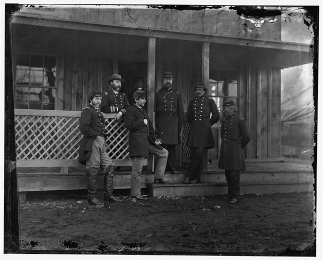 Aquia Creek Landing, Virginia. Group of officers: Col. [Rogers], Lt. Col. Sawtelle, Dr. Whyte, Capt. McGraw and Capt. J.W. Forsyth, Provost Marshal, Major A. Parker Porter