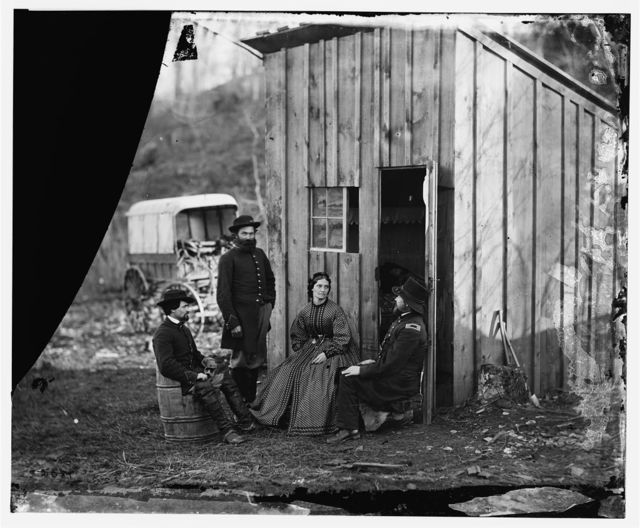 [Aquia Creek Landing, Virginia (vicinity)]. Group at Captain W.S. Hall's wagon camp