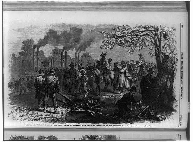 Arrival at Chickasaw bayou of the Negro slaves of Jefferson Davis, from his plantation on the Mississippi