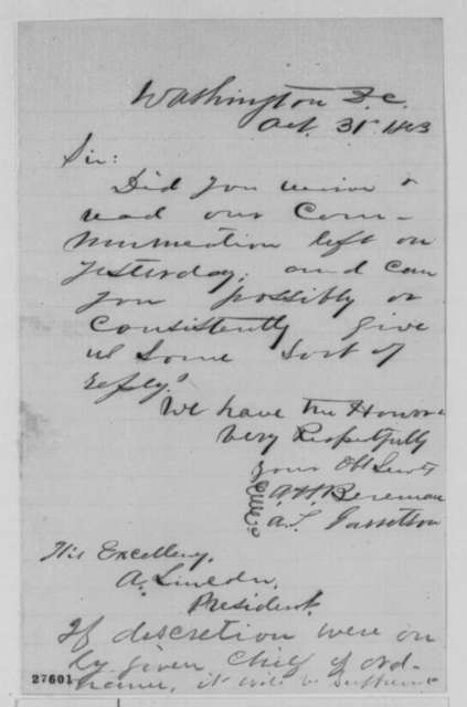 Arthur H. Boreman and A. S. Garretson to Abraham Lincoln, Saturday, October 31, 1863  (Request reply to their letter)