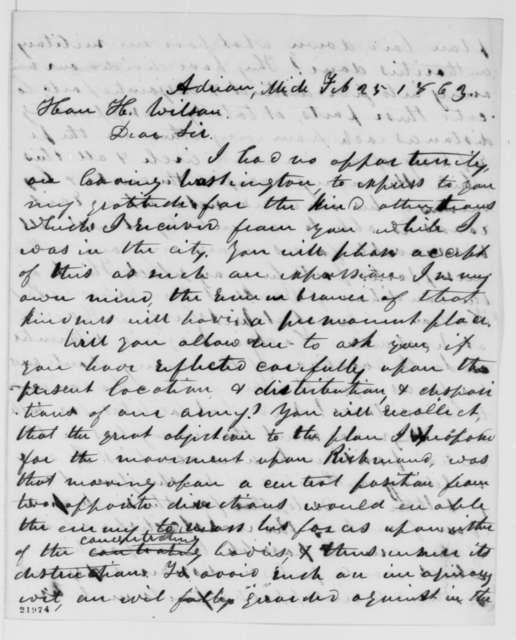 Asa Mahan to Henry Wilson, Wednesday, February 25, 1863  (Military affairs)