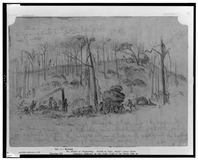 Attack of Genl. Ewell's Corps (Johnston's division), formerly under Stonewall Jackson, on the right flank of the Union Army on Culp's Hill held by the 12th Corps (Gen. Slocum) during the battle of Gettysburg