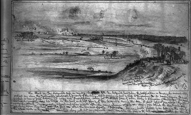 Attack on Gen. Sedwick's [sic] Corps. Banks Ford near Chancellorsville, seen from the north bank of the Rappahannock River