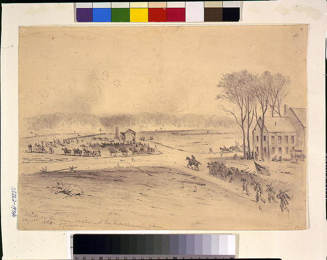 Attack on the Union position at the Chancellorsville House / E. Forbes.