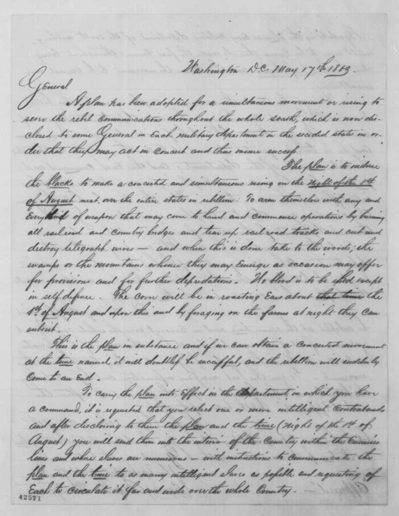 Augustus Montgomery to [William S. Rosecrans], Sunday, May 17, 1863  (Plan for slave rebellion)