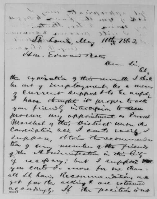 Augustus W. Alexander to Edward Bates, Monday, May 11, 1863  (Seeks appointment as provost marshal; endorsed by Edward Bates to Lincoln, May 19, 1863)