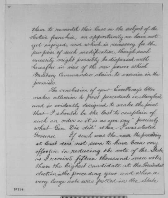 Augustus W. Bradford to Abraham Lincoln, Tuesday, November 03, 1863  (Reply to Lincoln's letter of November 2 regarding Federal interference in the Maryland election)
