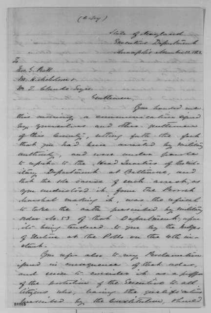 Augustus W. Bradford to Thomas G. Pratt, et al., Sunday, November 22, 1863  (Arrests during recent Maryland elections)