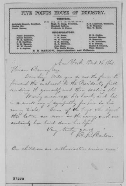 B. R. Barlow to Hiram Barney, Friday, October 16, 1863  (Cover letter)