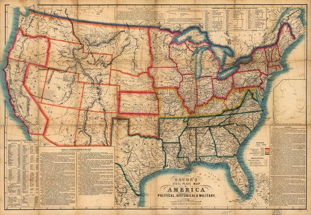 Bacon's steel plate map of America, political, historical & military.