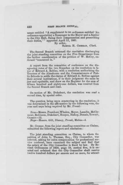 Baltimore Maryland City Council, April 7-8, 1863  (Printed Resolutions)