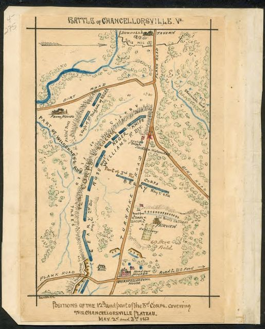 Battle of Chancellorsville, Va. Position of the 12th and part of the 3rd Corps covering Chancellorsville Plateau May 2nd and 3rd 1863.