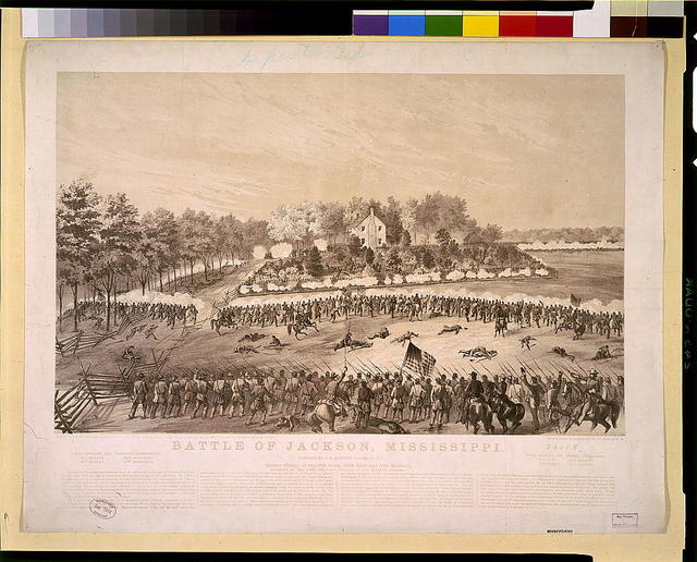 Battle of Jackson, Mississippi--Gallant charge of the 17th Iowa, 80th Ohio and 10th Missouri, supported by the first and third brigades of the seventh division / sketched by A.E. Mathews, 31st Reg., O.V.I.