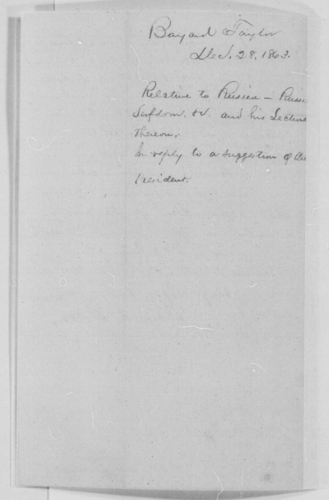 Bayard Taylor to Abraham Lincoln, Monday, December 28, 1863  (Reply to Lincoln's note of December 25)